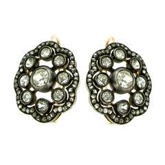 Antique 5 Carat Diamond Gold Cluster Earrings, 1890s