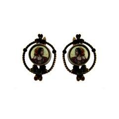 1800 Gold Earrings with Enamel Miniatures
