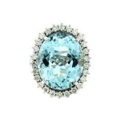 16.81 Carat Aquamarine Diamond Gold Ring