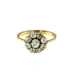 Antique 1.80 Carat Diamond Gold Cluster Ring