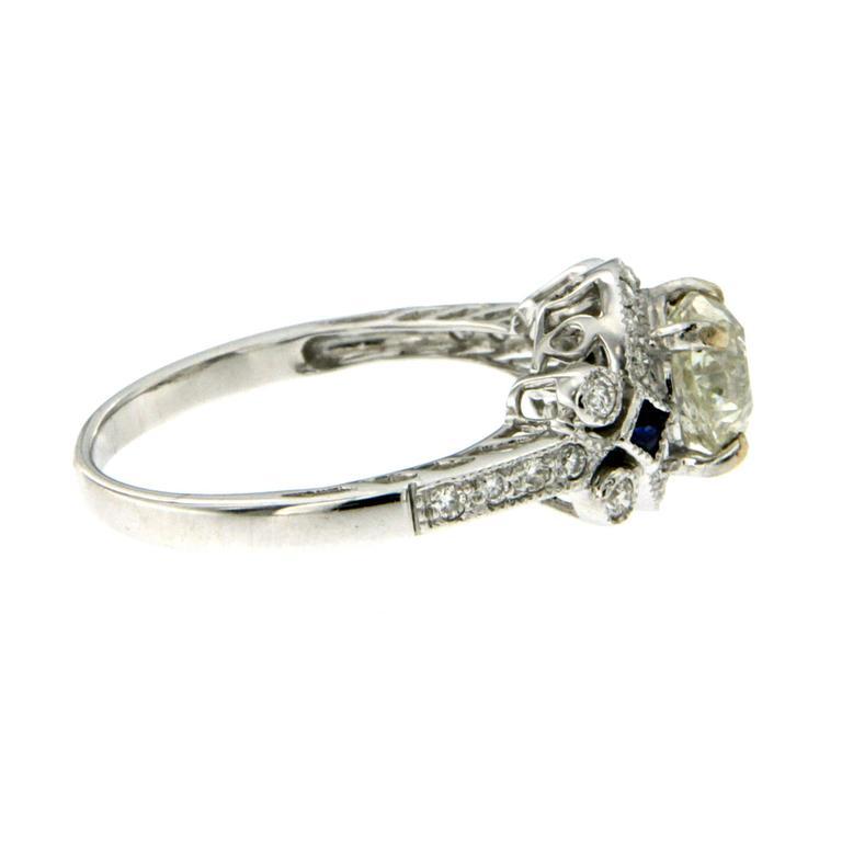 Art Deco Antique Diamond Sapphire Gold Engagement Ring