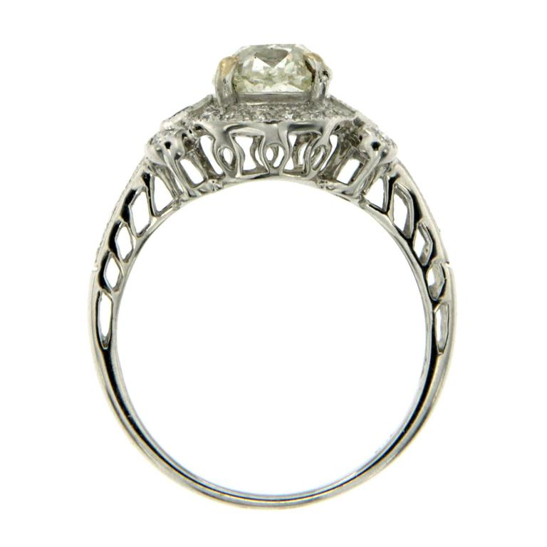 Women's Antique Diamond Sapphire Gold Engagement Ring