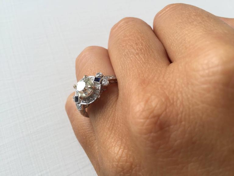 Antique Diamond Sapphire Gold Engagement Ring 1