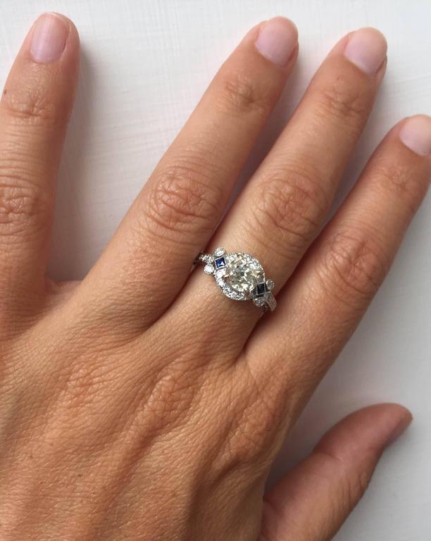 Antique Diamond Sapphire Gold Engagement Ring 2