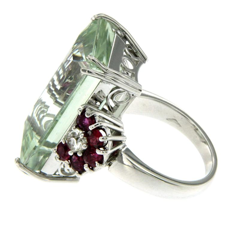 30 Carat Aquamarine Ruby Diamond Gold Ring For Sale at 1stdibs