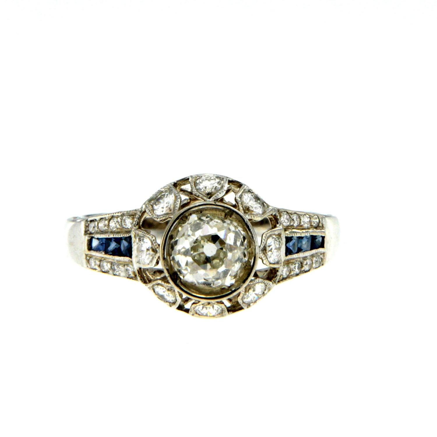 Antique Diamond Sapphire Gold Engagement Ring For Sale at 1stdibs