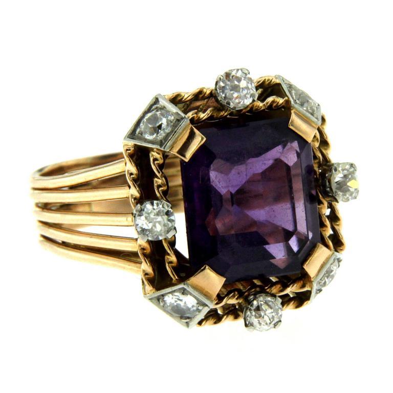 Retro Amethyst Diamond Gold Ring 2