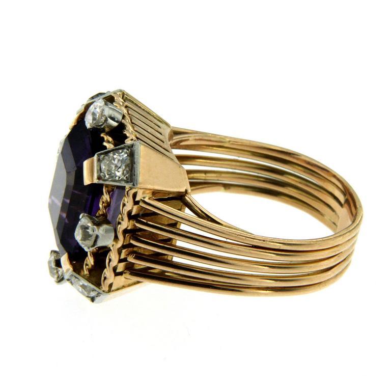 Retro Amethyst Diamond Gold Ring 3