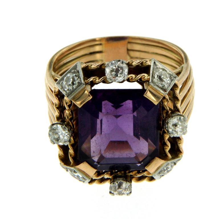 Retro Amethyst Diamond Gold Ring 4