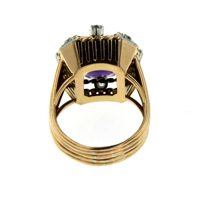 Retro Amethyst Diamond Gold Ring 5