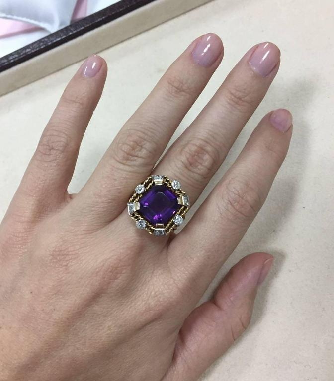 Retro Amethyst Diamond Gold Ring 6