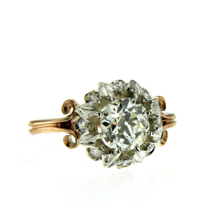 Art Nouveau 1890 Diamond Gold Engagement Ring For Sale