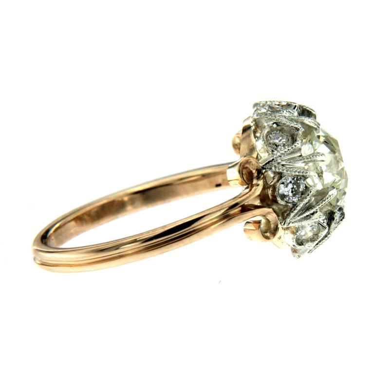 1890 Diamond Gold Engagement Ring In Excellent Condition For Sale In Napoli, Italy