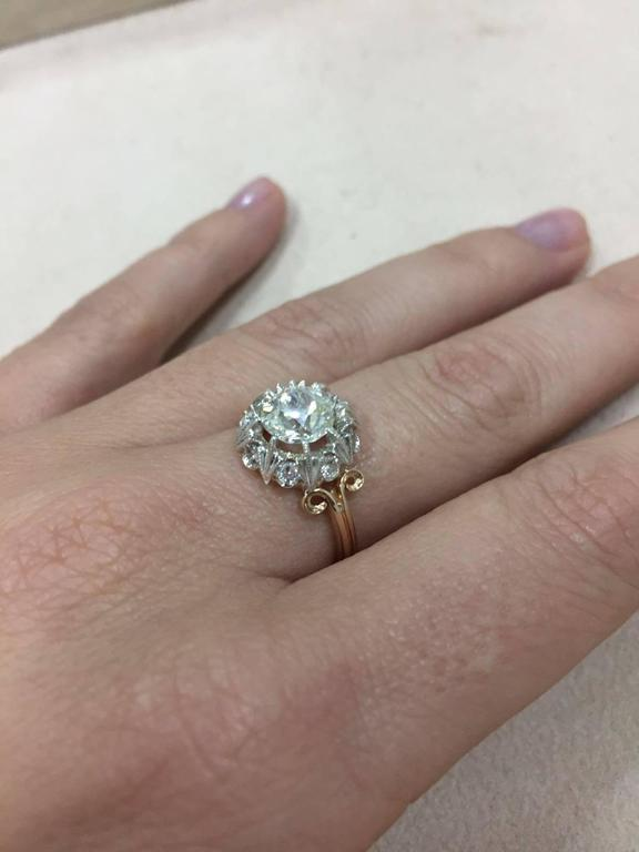 1890 Diamond Gold Engagement Ring For Sale 2