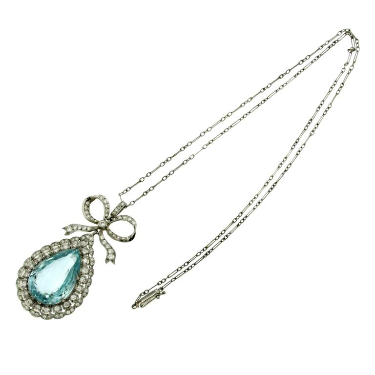 1940s Mission Style House Gets Brilliant Transformation In: 15 Carat Aquamarine Diamond Drop Platinum Pendant At 1stdibs