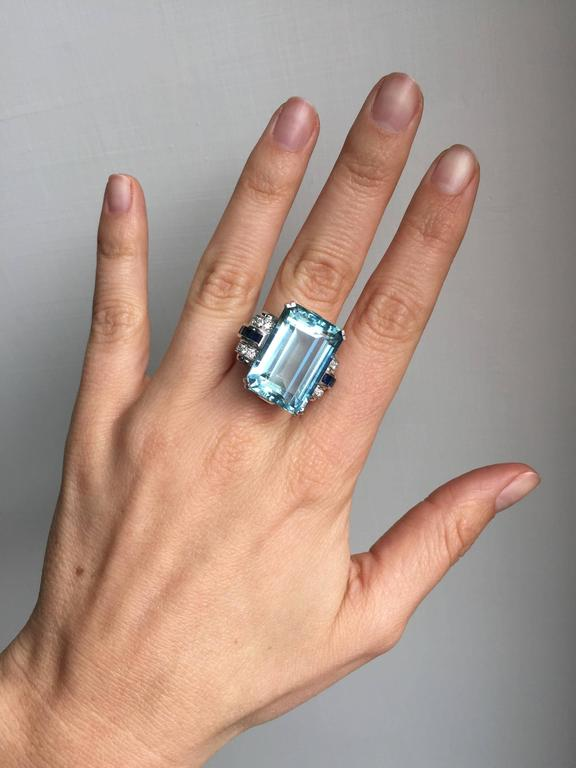 26 45 Carat Aquamarine Sapphire Diamond Gold Ring At 1stdibs