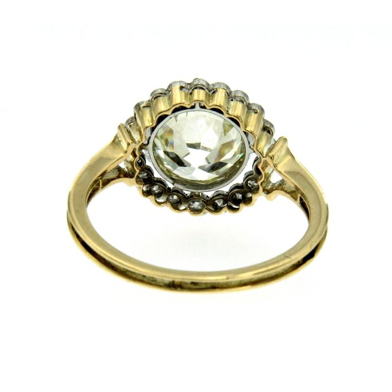 Victorian 3 Carat Diamond Gold Ring For Sale 2