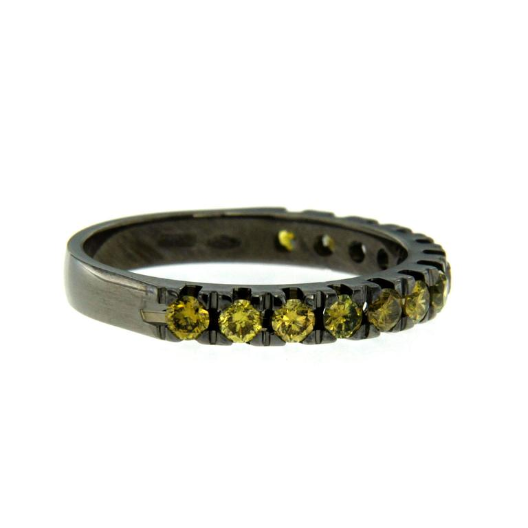 Colored Diamond Black Gold Band Ring For Sale at 1stdibs
