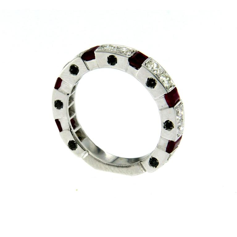 Contemporary Ruby Diamond Gold Band Ring For Sale