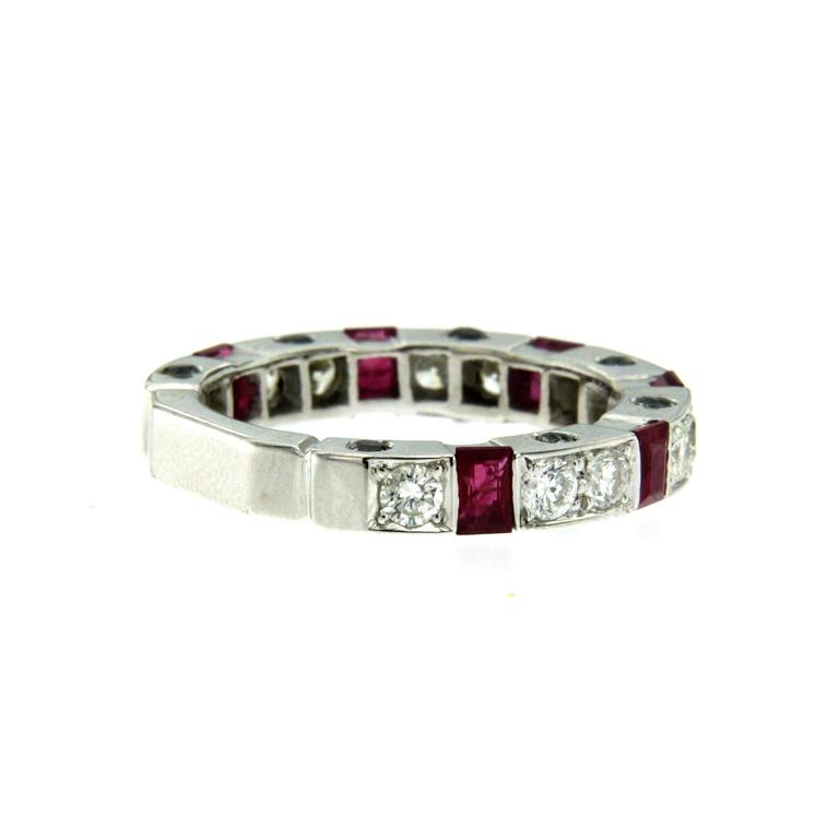 Ruby Diamond Gold Band Ring In New Condition For Sale In Napoli, Italy