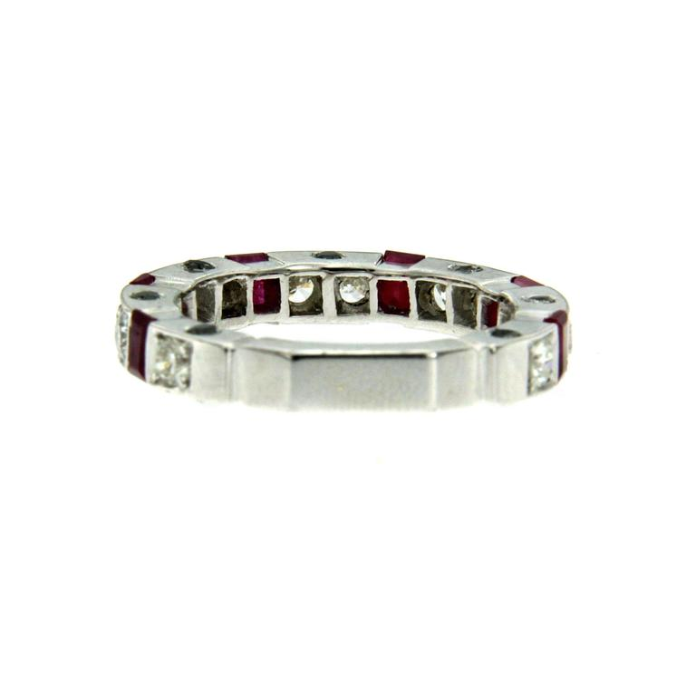 Women's or Men's Ruby Diamond Gold Band Ring For Sale