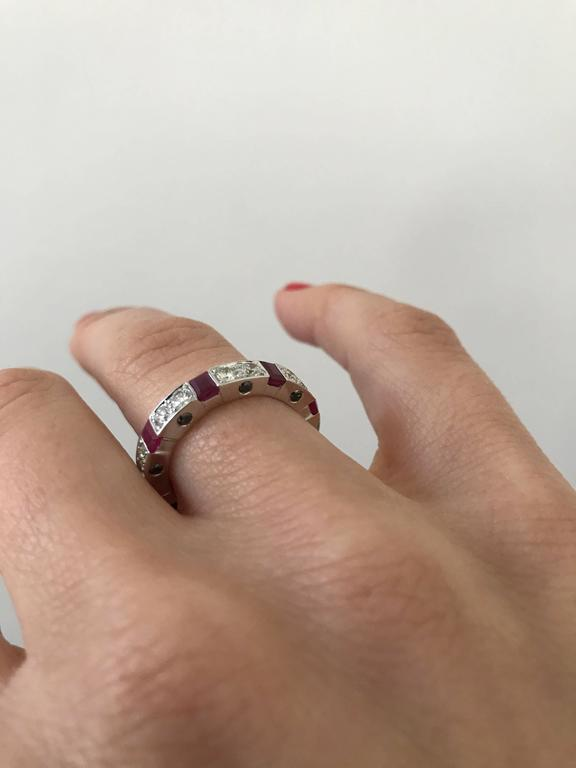 Ruby Diamond Gold Band Ring For Sale 1