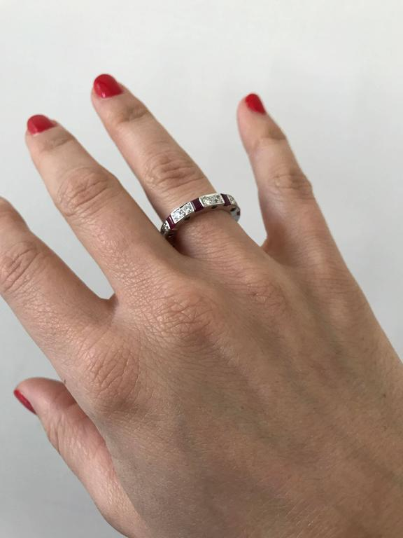 Ruby Diamond Gold Band Ring For Sale 2