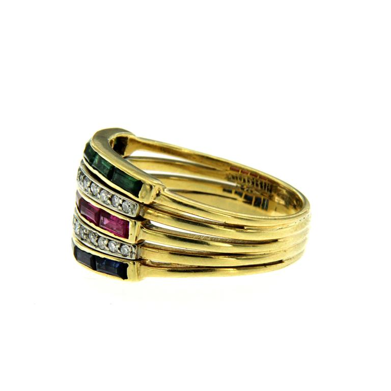 Retro Sapphire Ruby Emerald Diamond Gold Ring For Sale
