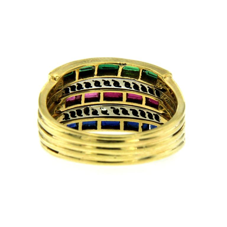 Women's or Men's Sapphire Ruby Emerald Diamond Gold Ring For Sale