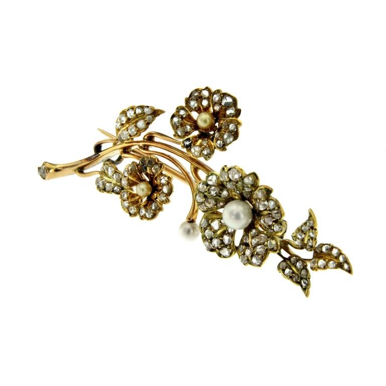 Gold Diamond Pearl Floral Boquet Brooch For Sale At 1stdibs