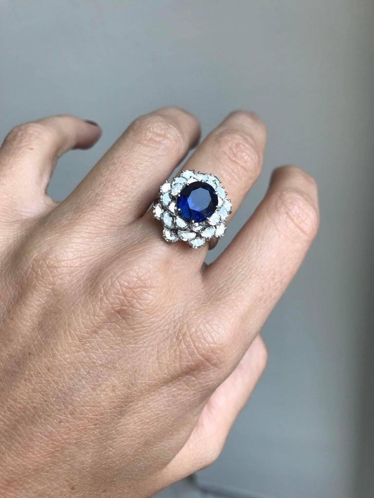 3.40 Carat Sapphire Diamond Platinum Ring For Sale 4