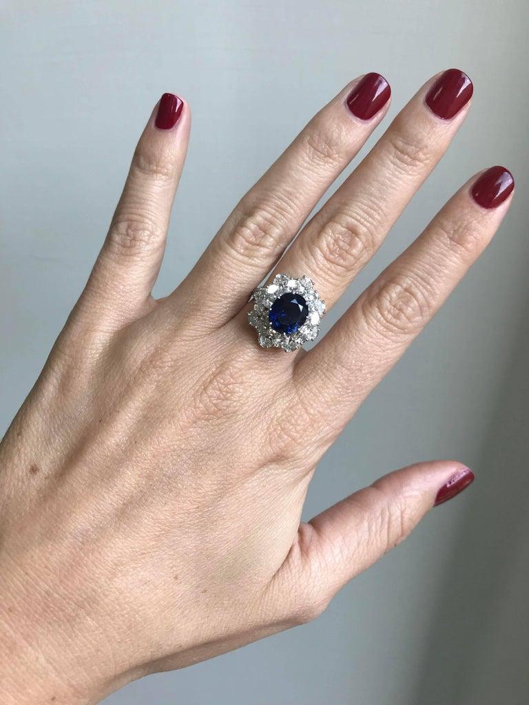 3.40 Carat Sapphire Diamond Platinum Ring For Sale 2