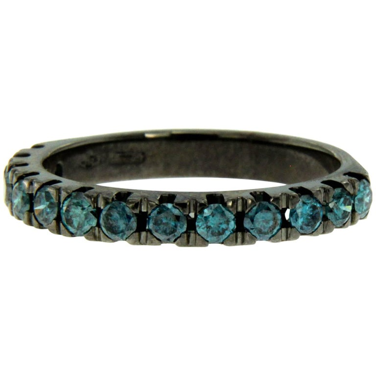 Colored Diamond Black Gold Band Ring