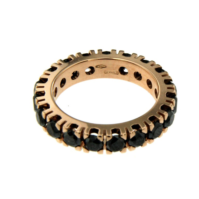 Black Diamond Gold Eternity Ring In New Condition In Napoli, Italy