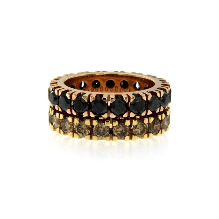 Women's or Men's Black Diamond Gold Eternity Ring
