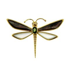 Butterfly Diamonds Gold Pendant or Brooch