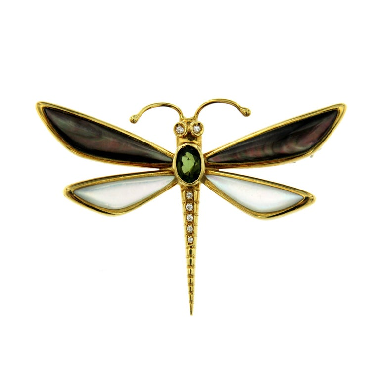 Butterfly Diamonds Gold Pendant or Brooch