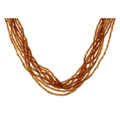 Orange Sapphires Multi Strand Beaded Necklace