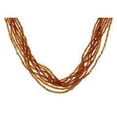 Orange Sapphires Multi Strand Beaded Necklace