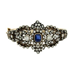 1920 Sapphire Gold and Silver Diamond Bangle Bracelet
