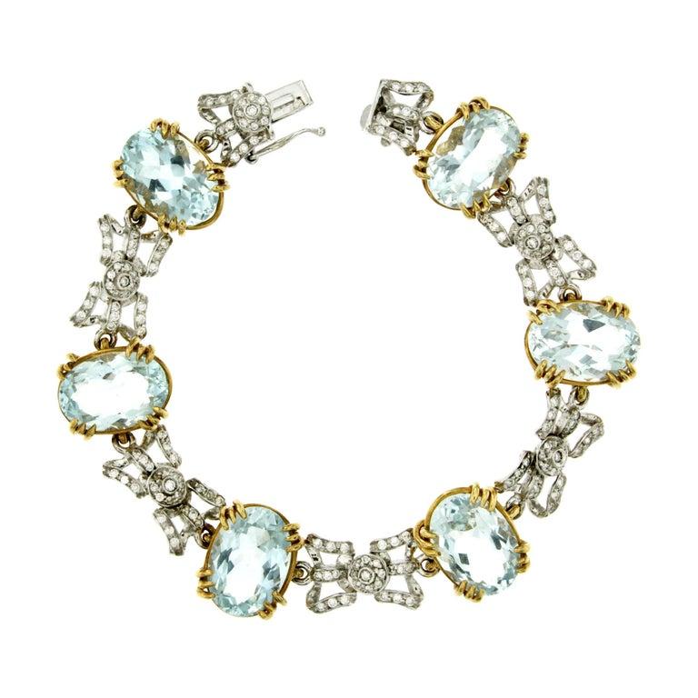 Aquamarine Gold Bow Link Bracelet