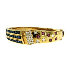 Italian Retro Ruby Sapphire Diamond Gold Bangle Bracelet
