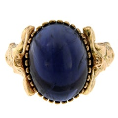 Iolite Gold Sculptural Man Body Dome Gold Ring