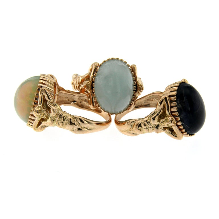 Opal Gold Sculptural Man Body Dome Gold Ring