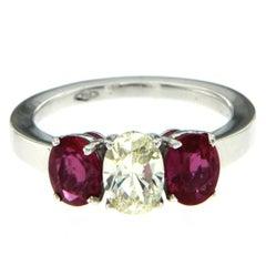 1.98 Carat AGL Certified Ruby Diamond Gold Ring