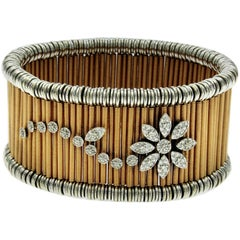 Jarretiere Shanghai Diamond Flower BiColor Gold Expanding Cuff Bracelet