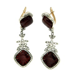 Enamel Diamond Silver Gold Earrings