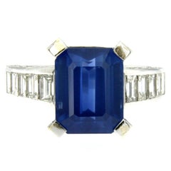 GIA Certified 6.59 Carat Sapphire Diamond Gold Ring
