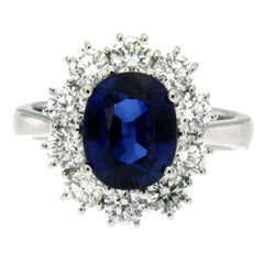 Ssef Certified 3.70 Carat Burma Royal Blue Sapphire Diamond Gold Ring