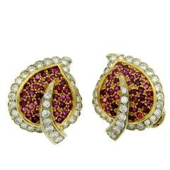 Vintage Ruby Diamond Leaf Gold Earrings